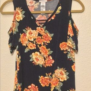Open shoulder floral t shirt (navy blue, yellow)